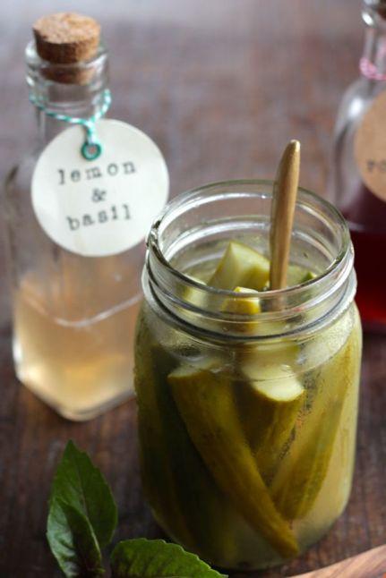 Lemon & Basil Vinegar Quick Pickles